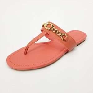 NWOT Coach Jaclyn Coral Sandals With Gold Chain